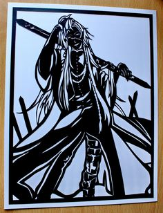 Hand done paper cut out of Undertaker from Black Butler. For Sale at £39.95 Postage 1st class and signed for, included in price. Created by Admiral Salt