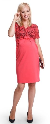 Senza coral нарядное платье для будущих и кормящих мам с кружевной вставкой
