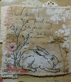 "Textile art by Emily Henson ""and the I found my place in the world"" vintage textiles hand stitched mixed media"