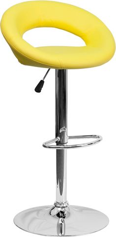 Flash Furniture Contemporary Yellow Vinyl Rounded Back Adjustable Height Barstool with Chrome Base