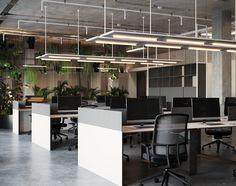 Mountain Drive Office, Almaty on Behance Office Open Plan, Open Concept Office, Open Space Office, Office Space Planning, Office Design Concepts, Open Office Design, Industrial Office Design, Corporate Interior Design, Office Interiors
