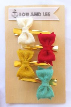Felt bows on gold clips.       All items ship 10-14 business days from the time of payment.