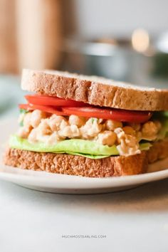 """a gluten free and vegan garbanzo bean / chickpea salad sandwich, a quick and easy lunch or dinner recipe idea  utilizing ingredients you likely already have in your pantry. high in protein and fiber and very kid approved. Skip the bread and make it into a dip and use crackers to scoop! Vegan Chickpea """"Tuna"""" Salad + Sandwich Recipe 