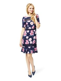 NEW REVIEW STUNNING RIVER OF DREAMS FLORAL DRESS SIZE 8 NAVY / PINK FLOWERS LACE | eBay Pretty Dresses, Dresses For Work, Prom Dresses, Review Fashion, Feminine Dress, Online Dress Shopping, Review Dresses, Navy Pink, Dream Dress