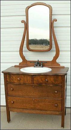 1920u0027s vintage oak serpentine dresser with mirror keyholes casters a show stopper in beaut vintage cond pick your color - Antique Bathroom Vanity