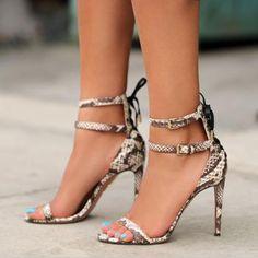 #FSJshoes - #FSJ Shoes Grey Serpentine Ankle Straps Open Toe Stiletto Heels Sandals - AdoreWe.com