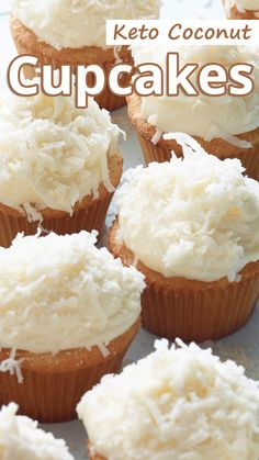 """Coconut Cupcakes """"These keto cupcakes are perfect topped with whipped cream."""" Keto Coconut Cupcakes – You must try this recipe.""""These keto cupcakes are perfect topped with whipped cream."""" Keto Coconut Cupcakes – You must try this recipe. Cupcakes Keto, Keto Cookies, Coconut Cupcakes, Keto Cake, Cookies Et Biscuits, Cupcake Recipes, Dessert Recipes, Breakfast Recipes, Gluten Free Coconut Cake"""