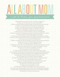 About Mom Questionnaire Get to know Mom with this All About Mom printable questionnaire!Get to know Mom with this All About Mom printable questionnaire! Mother And Father, Mother Day Gifts, Mother Daughters, Daddy Daughter, You Are My Superhero, All About Mom, Mom Day, My Mom, Activity Days