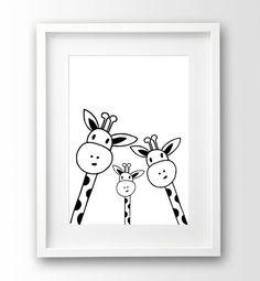 Family Giraffe Selfie Print Nursery Printable by nanamiadesign