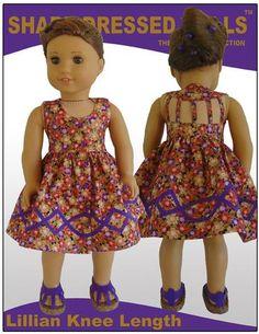 Sharp Dressed Dolls The Lillian Dress Doll Clothes Pattern 18 inch American Girl Dolls