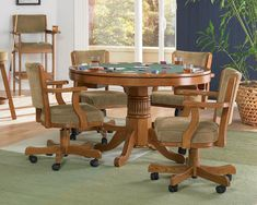 Oak Dining Room Chairs With Casters - Interior Design Dining Room Oak Dining Room Chairs, Casual Dining Rooms, Kitchen Dining Sets, 5 Piece Dining Set, Dining Room Sets, Dining Room Furniture, Table And Chairs, Arm Chairs, Kitchen Chairs