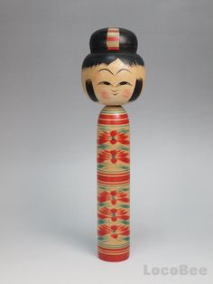 This is a Japanese Traditional Hijiori Kokeshi doll by Kobayashi Sadao. He was born in 1933 in miyagi prefecture. He studied under Sato Ushizo,Sato Fumio(Tougatta) in 1966.
