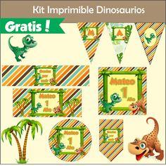 Fiestas Personalizadas Imprimibles: Kit Imprimible Gratis de Dinosaurios Lucas 2, Calendar, Holiday Decor, Party Ideas, Dinosaur Birthday Party, Printable Tags, Dinosaur Printables, Party Kit, Ideas Party