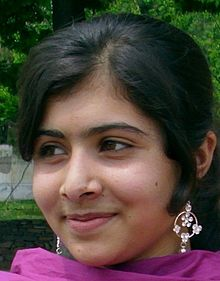 Malala Yousafzai - 14-year-old Pakistani girl whom the Taliban shot for helping other girls go to school.