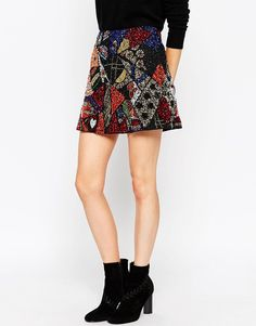 Image 4 of ASOS Mini Skirt with All Over Patchwork Sequin