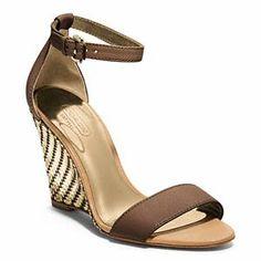 Coach - Sharrin- Woven Wedge W/ Ankle Strap Dark Ginger