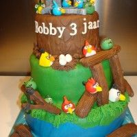 How to  Make Angry Birds Cake From Scratch I was asked to create a Angry Birds Cake. I found one small tutorial how to create the Angry Birds. I hope you like it and  it helps.   List of Objects different colours fondant/gumpaste, your favorite tool to make small accents, glue or water brush siccer Part ...… Full Recipe at www.easycakerecipesfromscratch.net/