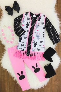 bb19948cb8d0 3pc Set- Pink   Black Bunny Fringe Vest Outfit - Sparkle in Pink Black Bunny