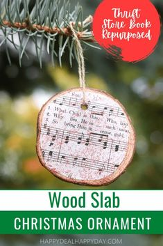 Looking for DIY Christmas Ornaments?  This wood slab ornament is covered with lyrics and music from your favorite Christmas carols!  This homemade Christmas ornament is one kids can make and will turn into a new favorite Christmas craft!  #christmascrafts #DIYchristmasornaments #thriftstorebooks Christmas Ornaments To Make, Homemade Christmas, Christmas Crafts, Christmas Ideas, Repurposed Wood, Wood Slab, Resin Tutorial, Thrifting, Wooden Diy