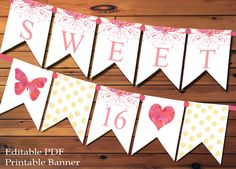 Sweet 16 Banner Sweet Sixteen Banner Watercolor Flowers Pink And Gold Banner Party Decoration Party Banner Sweet 16 Sign by LilGingerPrintShop on Etsy