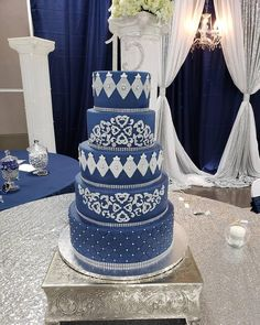 Quince Cake - Navy & Silver Quince Cakes, Quinceanera Cakes, Navy, Desserts, Silver, Food, Hale Navy, Tailgate Desserts, Deserts