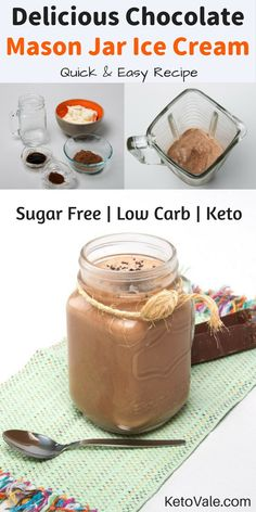 Healthy Sugar Free Keto Chocolate Mason Jar Ice Cream Low Carb Recipe