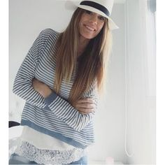 Instagram photo by rebelattitude - Probándome mis nuevas cositas de @the_amity_company  Jersey de rayas sobre camiseta de encaje  #streetstyle #fashion #fashionblog #blogger #girls #love #zara #vogue #instagram #ファッション #arabidol #spain #basquecountry #ootd #outfit #happy #style #fashionstyle #streetfashion #instagram