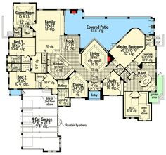 Spacious Mediterranean Home Plan - 63169HD | Florida, Mediterranean, Luxury, Photo Gallery, 1st Floor Master Suite, Butler Walk-in Pantry, CAD Available, Den-Office-Library-Study, MBR Sitting Area, Media-Game-Home Theater, PDF, Split Bedrooms, Corner Lot | Architectural Designs