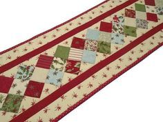 Christmas Quilted Table Runner Long Holiday Table Runner