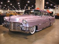 This pretty pink gal is a 1955 Cadillac Chop full custom build *Gah* I would love her in my garage! Sand Rail, Old Classic Cars, Cadillac Eldorado, Sweet Cars, Vintage Trucks, Retro Cars, Amazing Cars, Car Show, Custom Photo