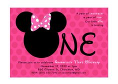 Hot Pink Minnie Mouse 1st Birthday Party by squigglestudio on Etsy, $7.00