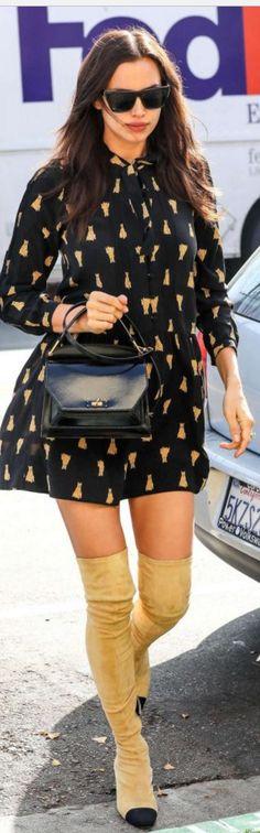 Who made Irina Shayk's black print dress, cap toe boots, handbag, and black sunglasses?