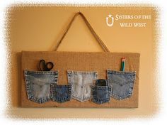 What to do with jean pockets...leftover from a jean quilt? Interesting.