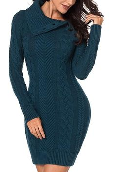 1b5832ba3be Asymmetric Buttoned Collar Biscay Bodycon Sweater Dress