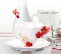 Red/Blue/Orange Porcelain Ceramic Fish Goldfish Coffee Tea Set Cup Sauce Spoon