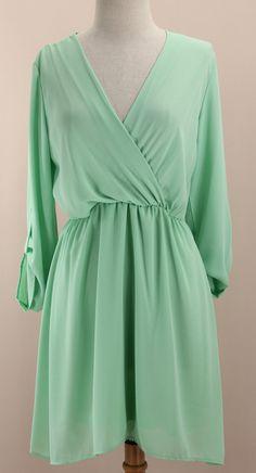 Mint Surplice Dress