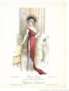From Élégances féminines. Revue mensuelle de la grande couture parisienne 1912. Dress by Paquin