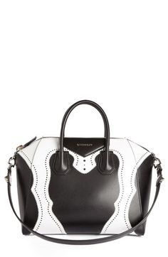 Shop antigona brogue satchel bag black white from Givenchy in our fashion  directory. c4df97dc18eb0