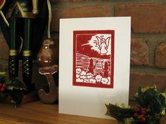 Set of 4 Linocut Christmas Shepherd cards Block by jessnielsen, $10.00