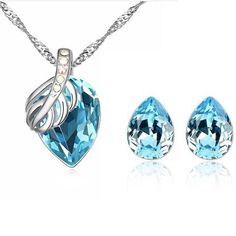 925 Sterling Silver Crystal Water Drop Jewelry Set. FREE + SHIPPING.  Selling Jewelry aca430391558
