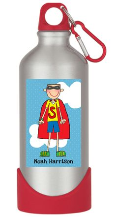 Create a water bottle to look just like your little one. This personalized water bottle for kids holds 20 ounces and is Lead Free.