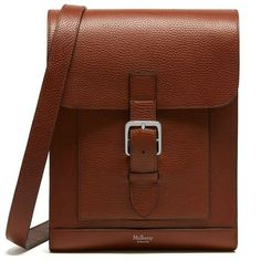Mulberry Chiltern Small Messenger Bag ($745) ❤ liked on Polyvore featuring bags, messenger bags, oak, genuine leather bags, brown bag, leather courier bag and leather bags