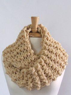 Chunky Knit Cream Long Infinity Cowl Scarf