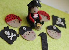 Cute Pirate Boy Fondant Cake Topper Party Set