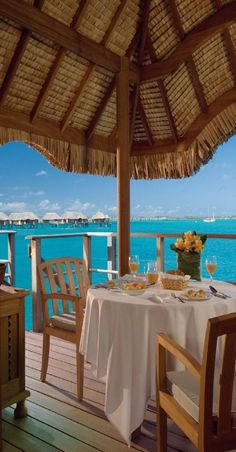 Dining with a view...Four Seasons, Bora Bora