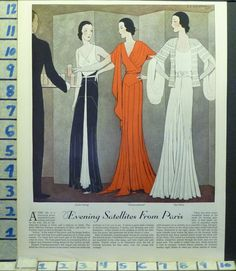 Evening Dresses by Lucien Lelong, Chapcommunal and Paul Poiret in 1931