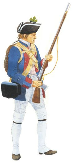 """Jersey Blues c 1754. This reconstruction is incorrect, they actually had a linen strap for their cartridge box.  Formed in 1673 to ''repel foreign Indians who come down from upper Pennsylvania and western New York (in the summer) to our shores and fill (themselves) with fishes and clams and on the way back make a general nuisance of themselves by burning hay stacks, corn fodder and even barns."""""""