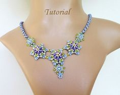 PDF for beadwoven necklace beading tutorial - beadweaving beading pattern beaded seed bead jewelry - CASUAL T