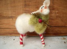 Wool Candycane Legs Wool Wrapped/Needle Felted Sheep Ornament $12.50