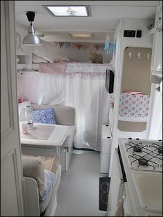 Curtained sleeping area + bunk